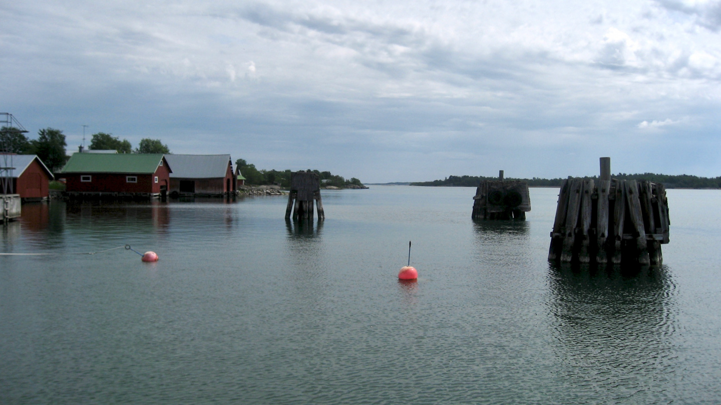 Piers in the harbour of Jurmo