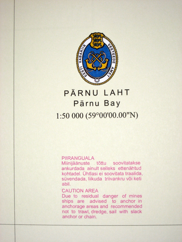 Warning about mines on the sea chart of Pärnu