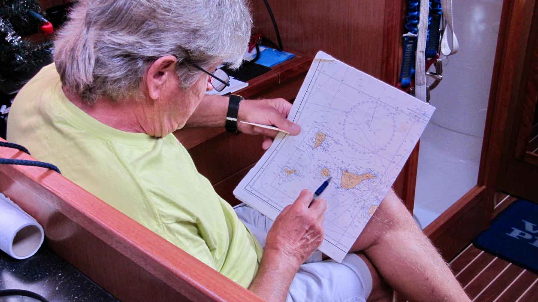 Skipper Erkki explaining the sailing route in Tenerife