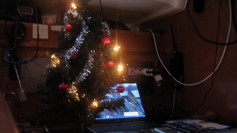 Christmas tree on the navigation desk of Seilori in Tenerife