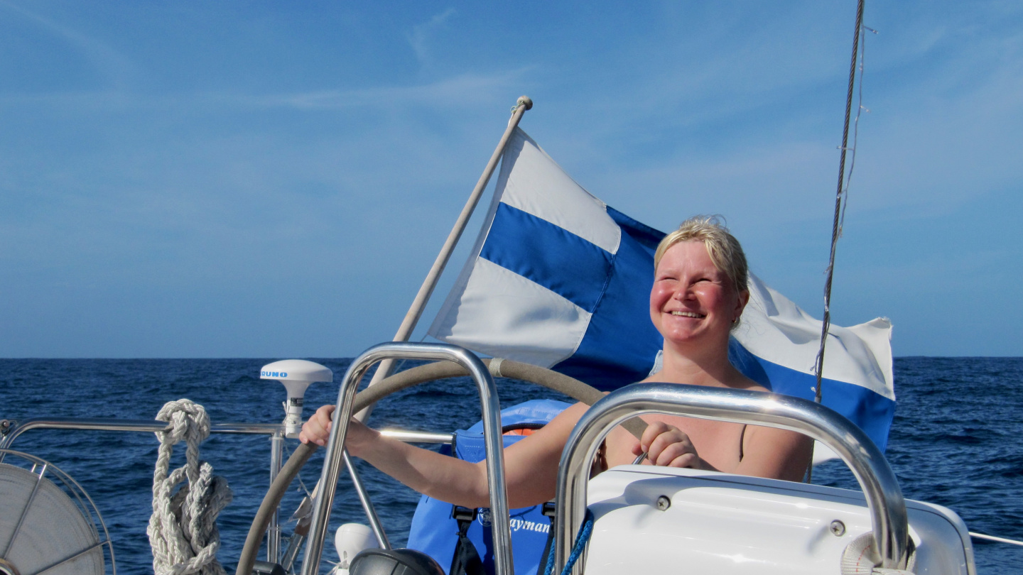 Eve at the helm in Tenerife