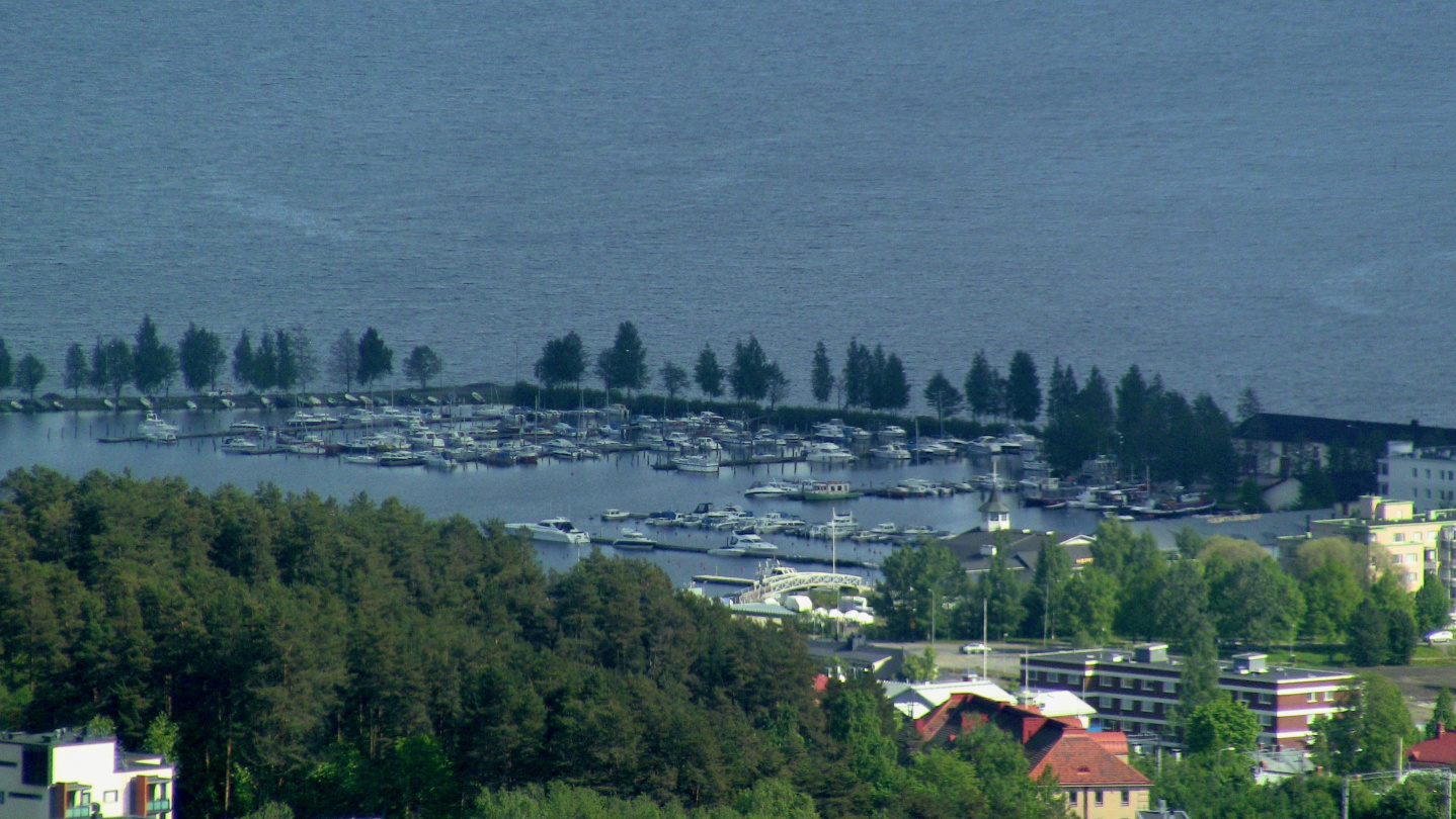 View from the top of Puijo to Maljalahti marina in Kuopio