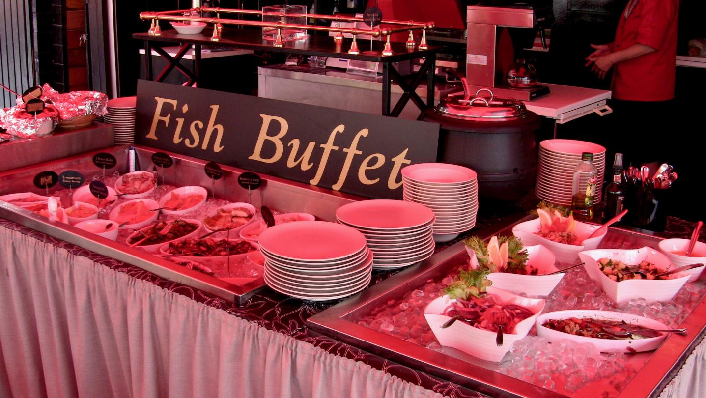 Seafood buffet of Liekkilohi in Savonlinna