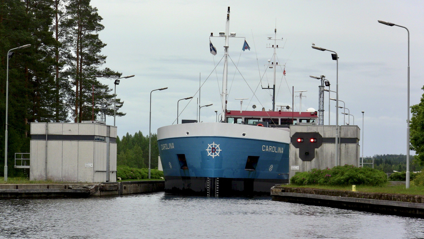 Ship Carolina in Saimaa canal