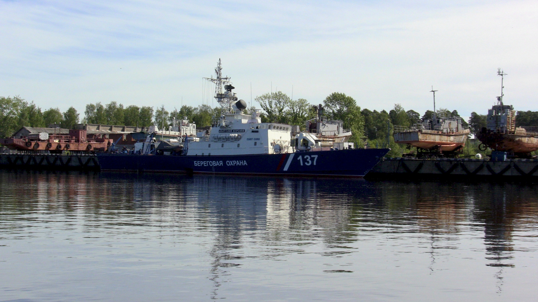 Venäjän sota-alus Uuraksen laiturissa