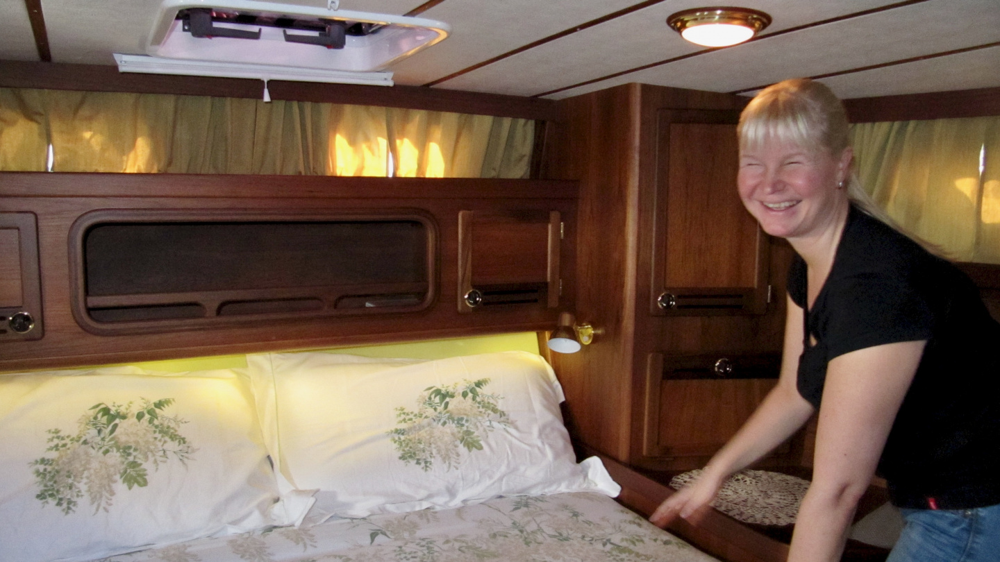 Eve in Nauticat aft cabin during the seatrial