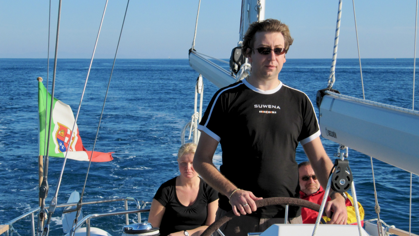 Andrus at the helm of Nauticat 441