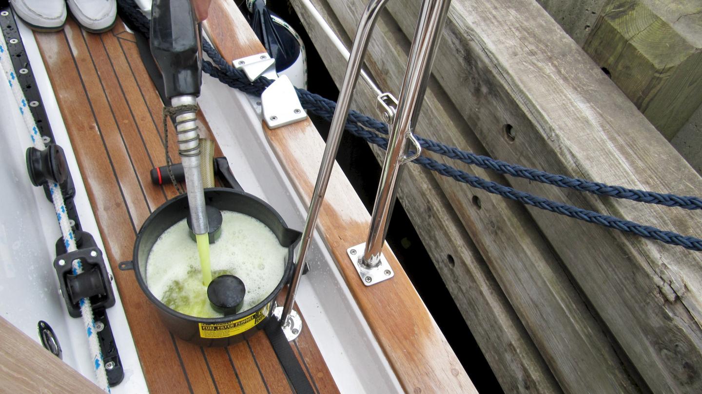 Mr Funnel filtering diesel for Suwena in Pavilosta