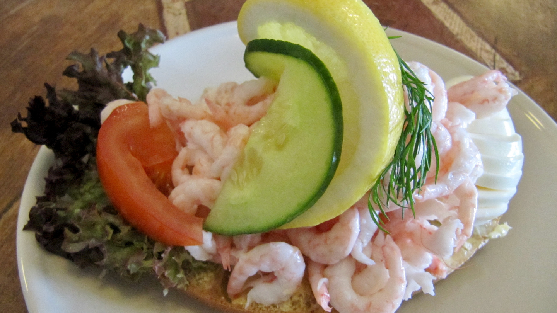 Famous Skagenröra shrimp bread of Sweden