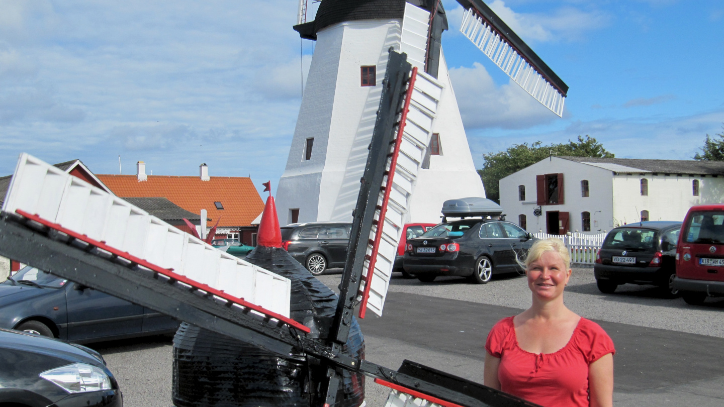 Eve at windmill of Aarsdale in Bornholm