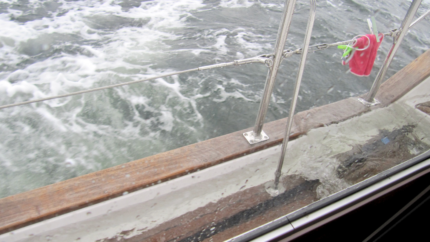 Suwena's deck filled with water on Polish coast