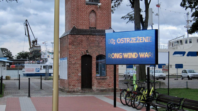 Weather forecast on display in Świnoujście marina