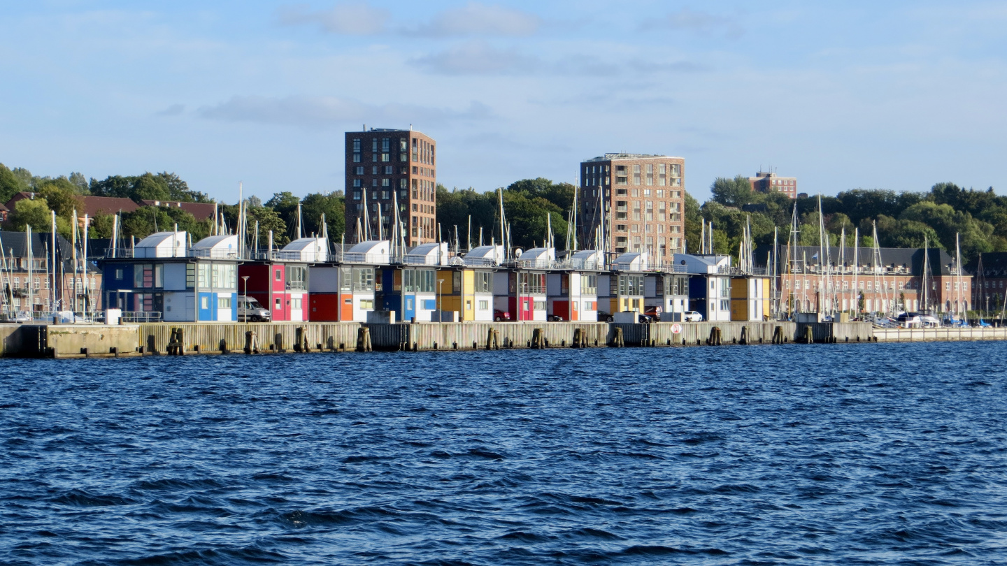 Funny apartments at the breakwater of marina Sonwik in Flensburg