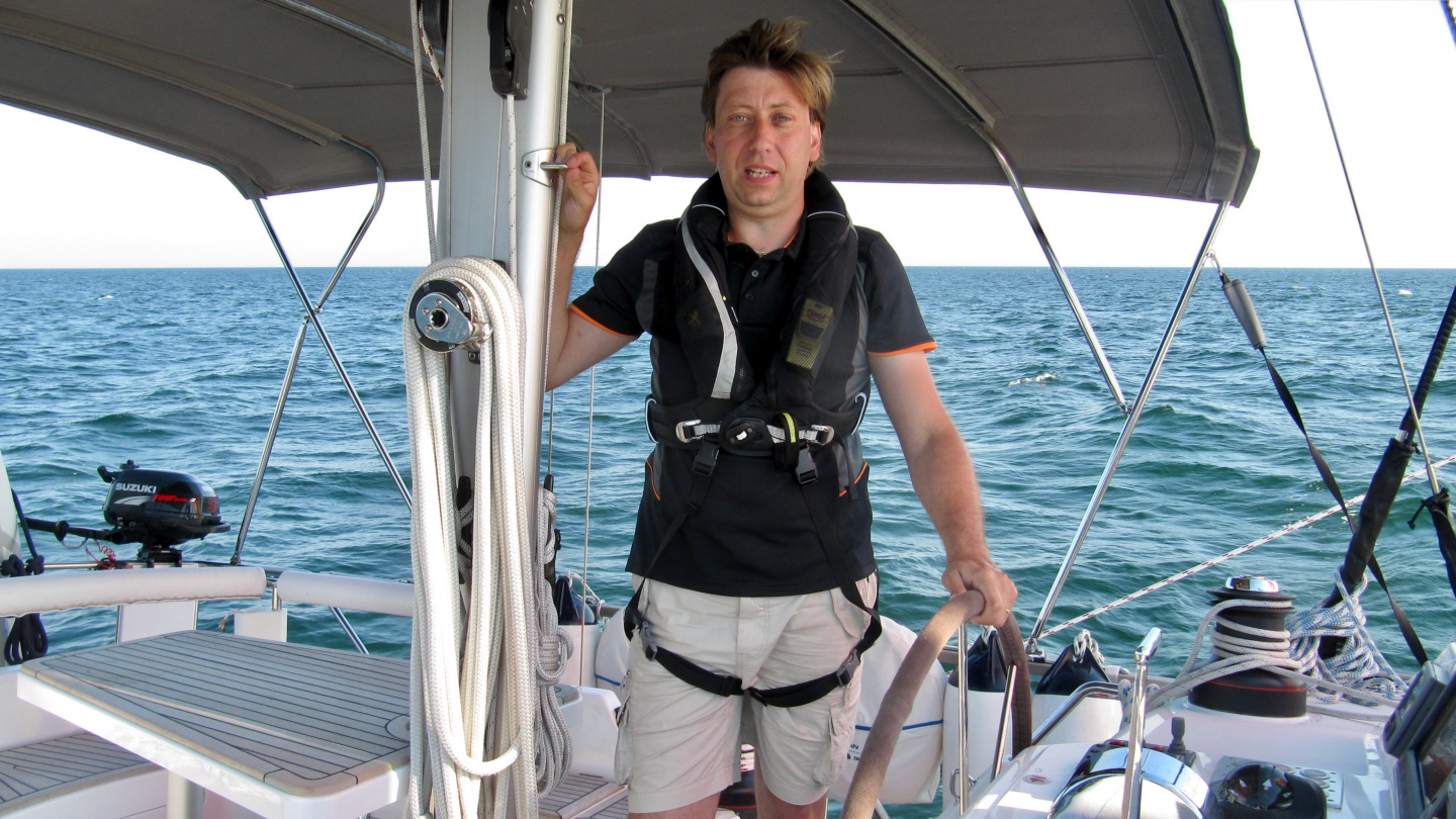Andrus at the helm of Suwena in southern Baltic Sea