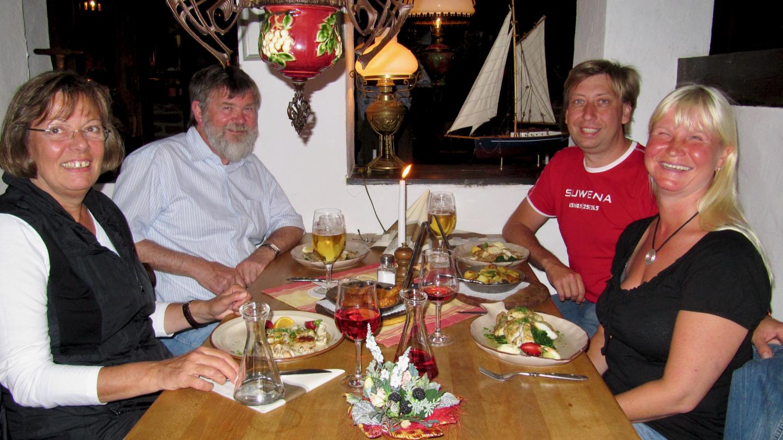 The crew of Weeki Wachee and Suwena having a dinner in Heiligenhafen