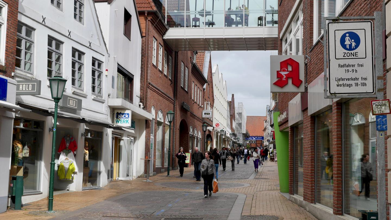 The pedestrian street of Rendsburg