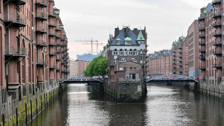 Speicherstadt canals in Hamburg