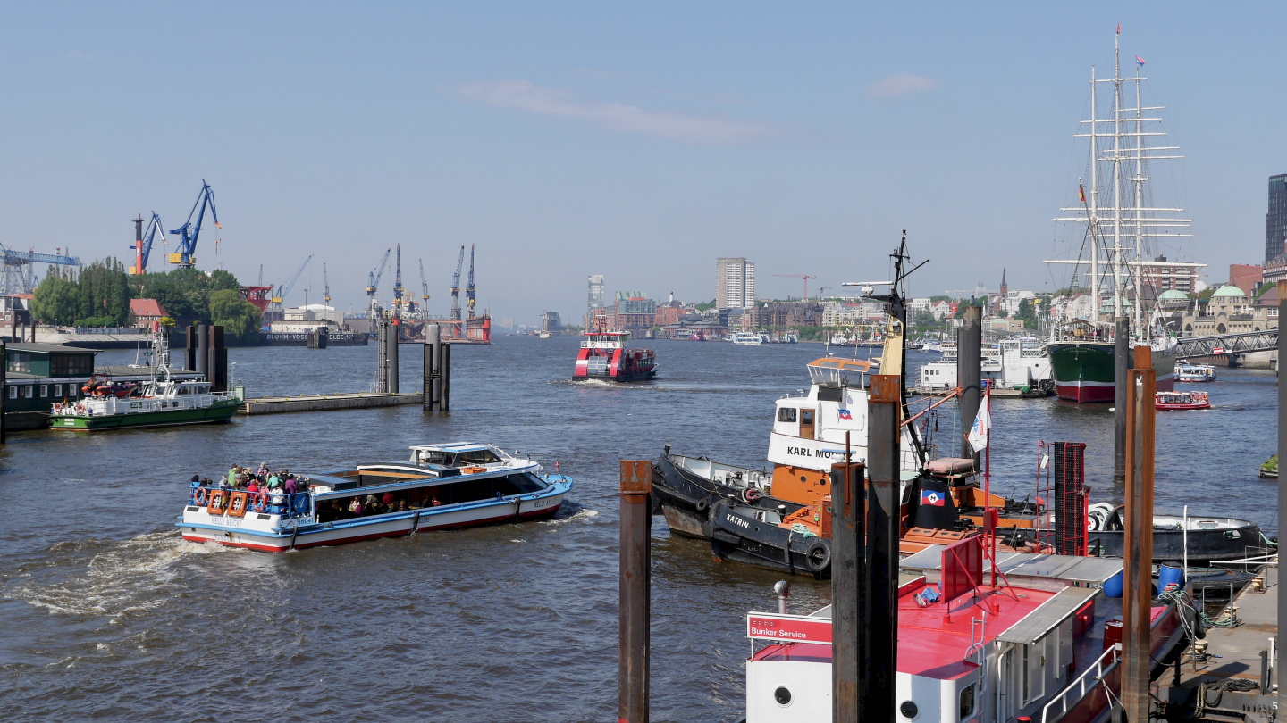 The Elbe river in Hamburg