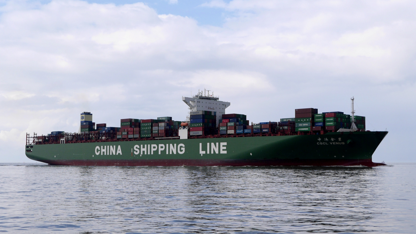 1201 feet long container ship on the Elbe river
