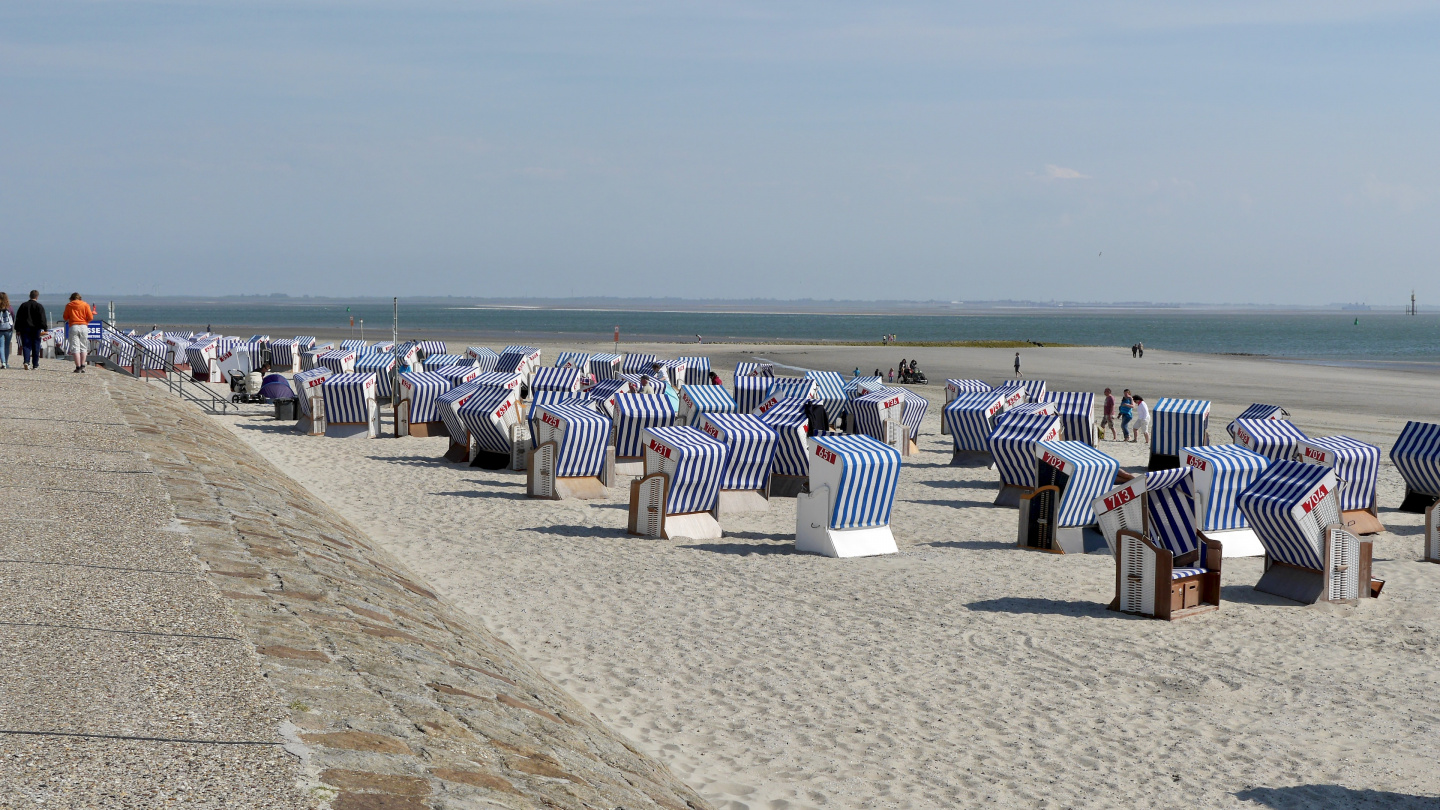 Typical German beach benches in Norderney