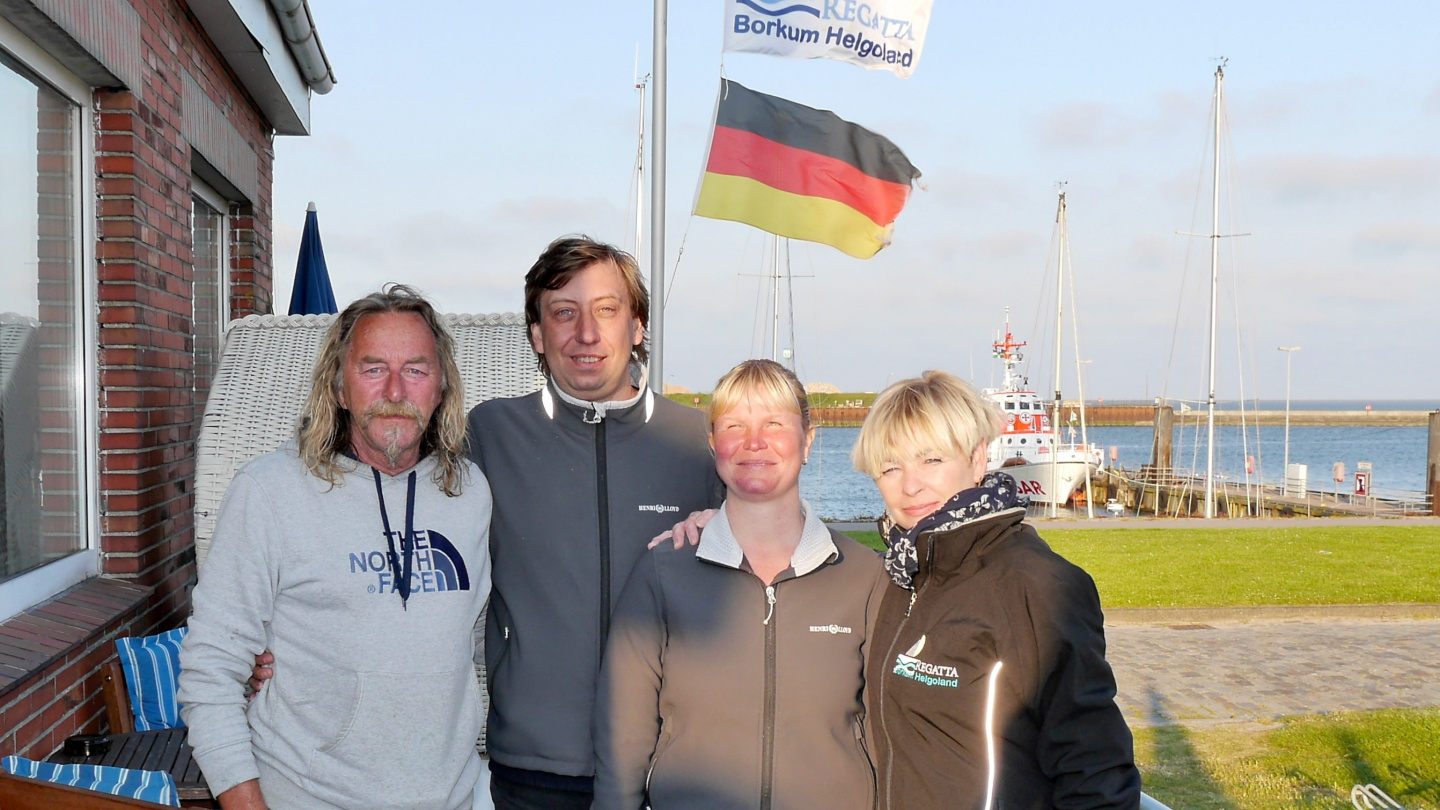 Eve and Andrus with Jackie and Heiko in Borkum's Hafencafe Burkana