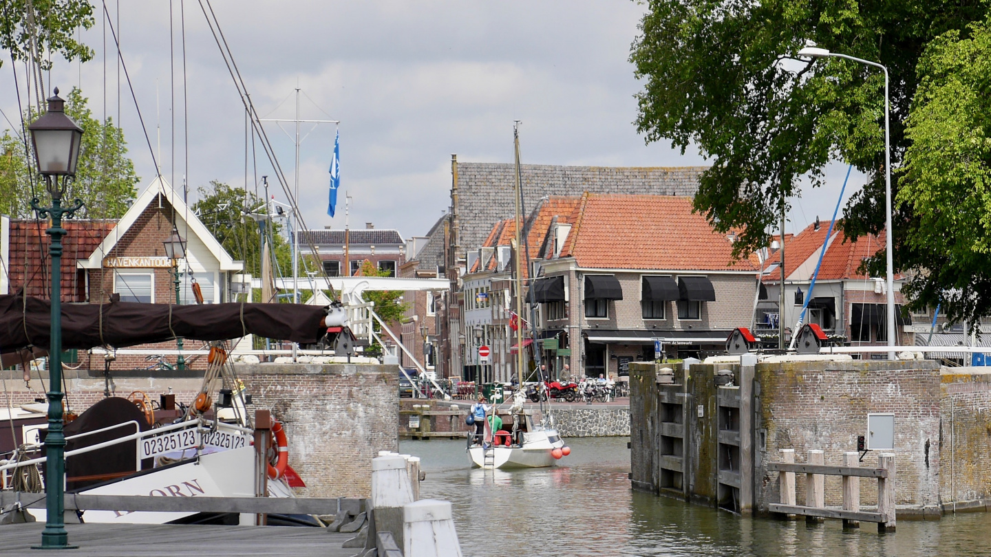 Entrance to the city harbor of Hoorn