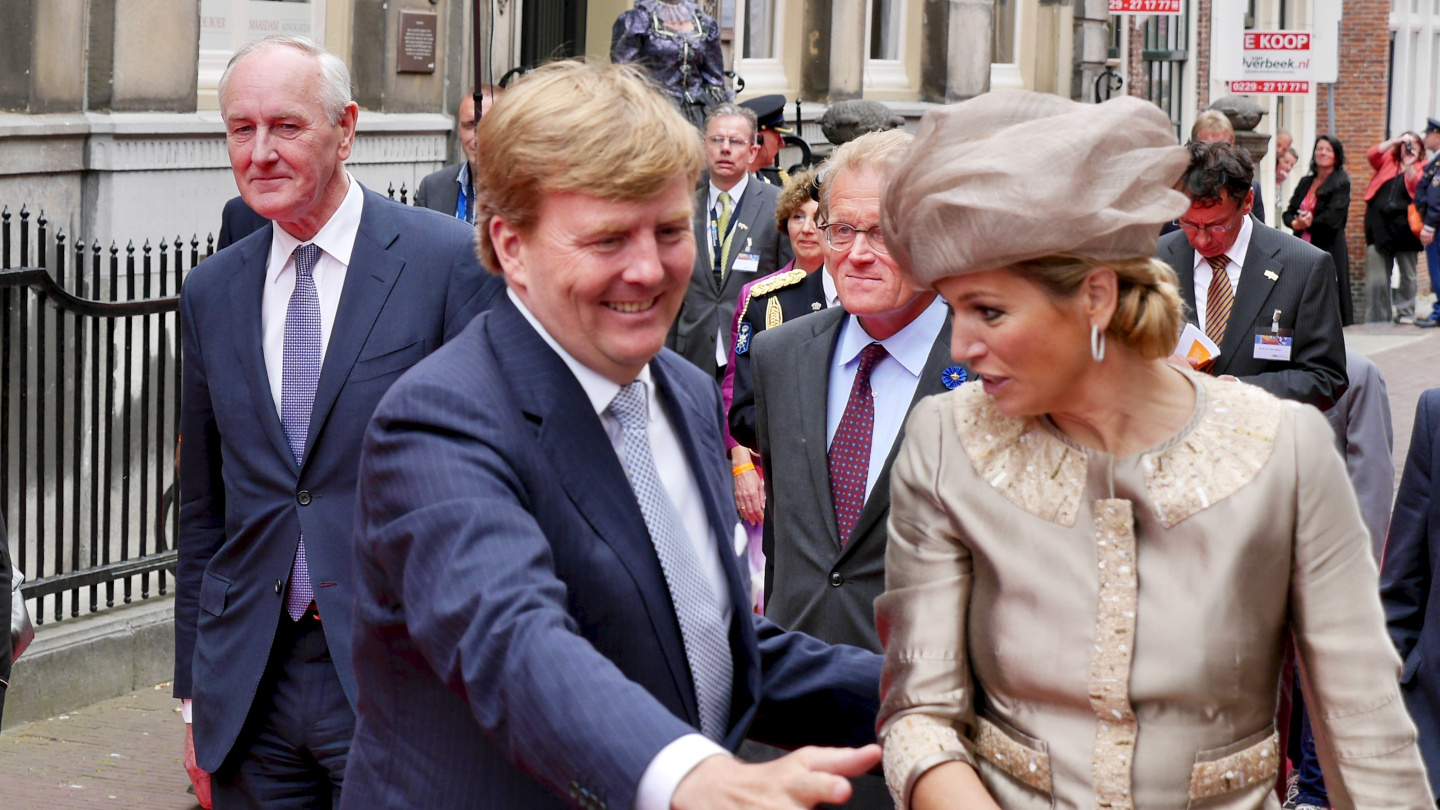 The Dutch king Willem-Alexander shaking hands in Hoorn