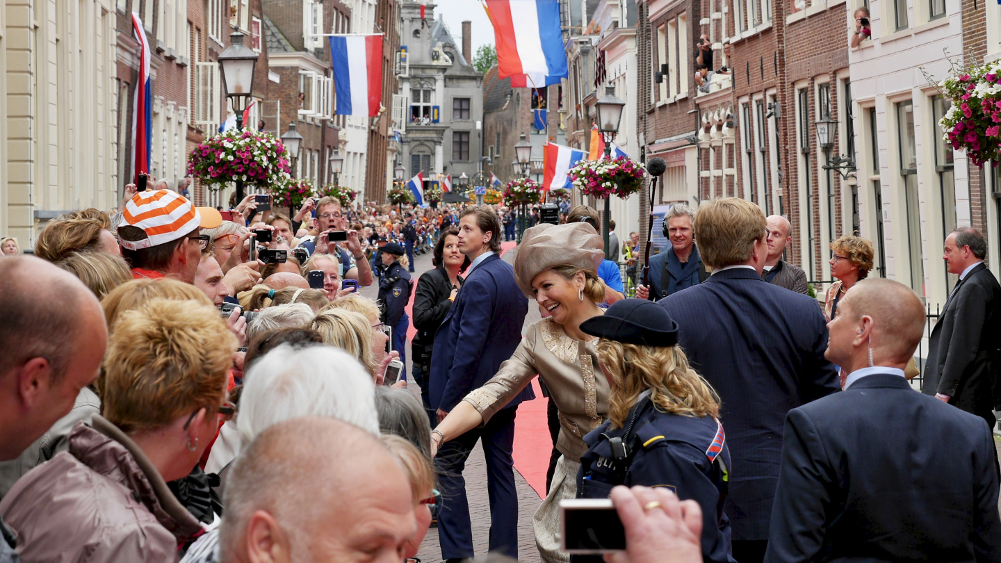 The Dutch royals greeting people in Hoorn