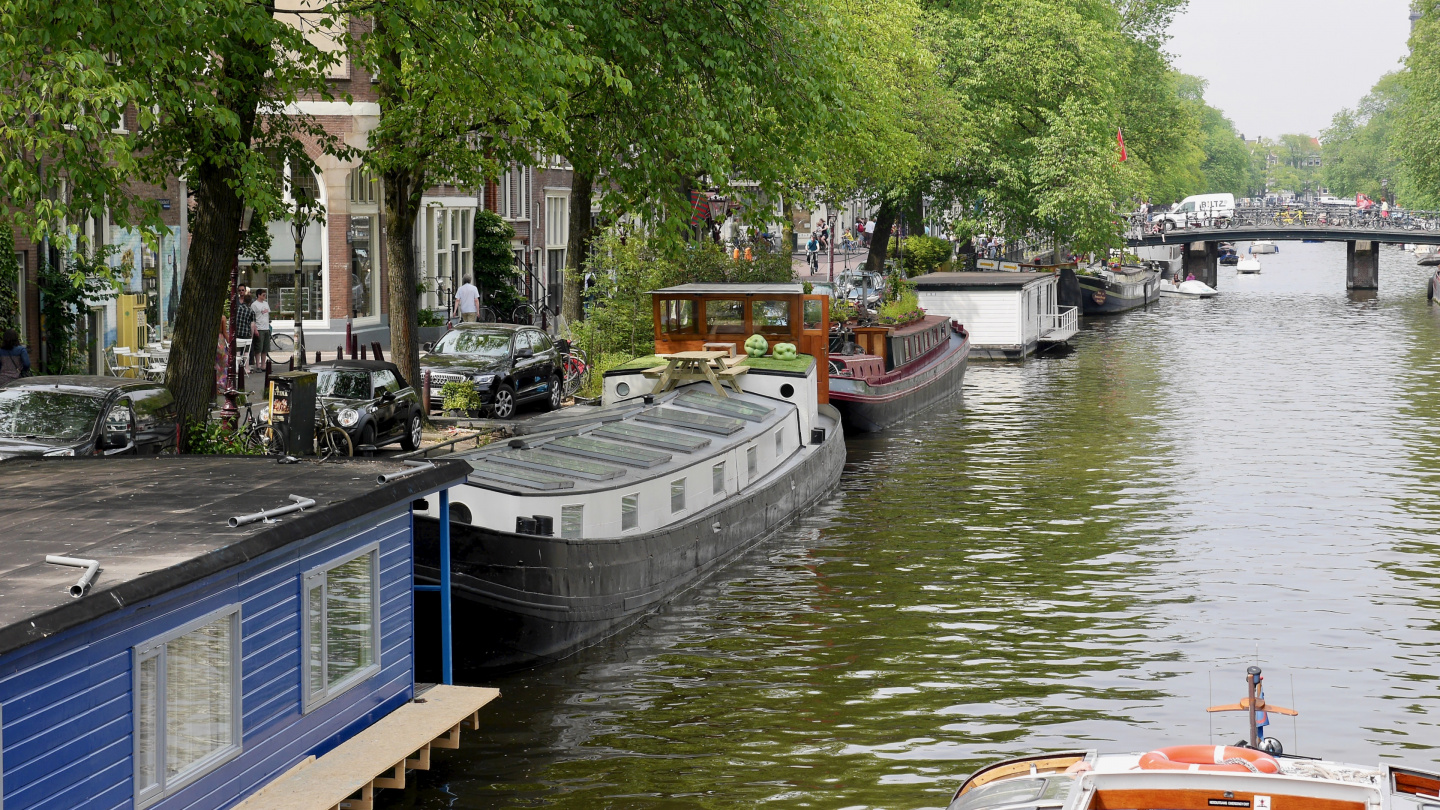 The houseboats in Amsterdam