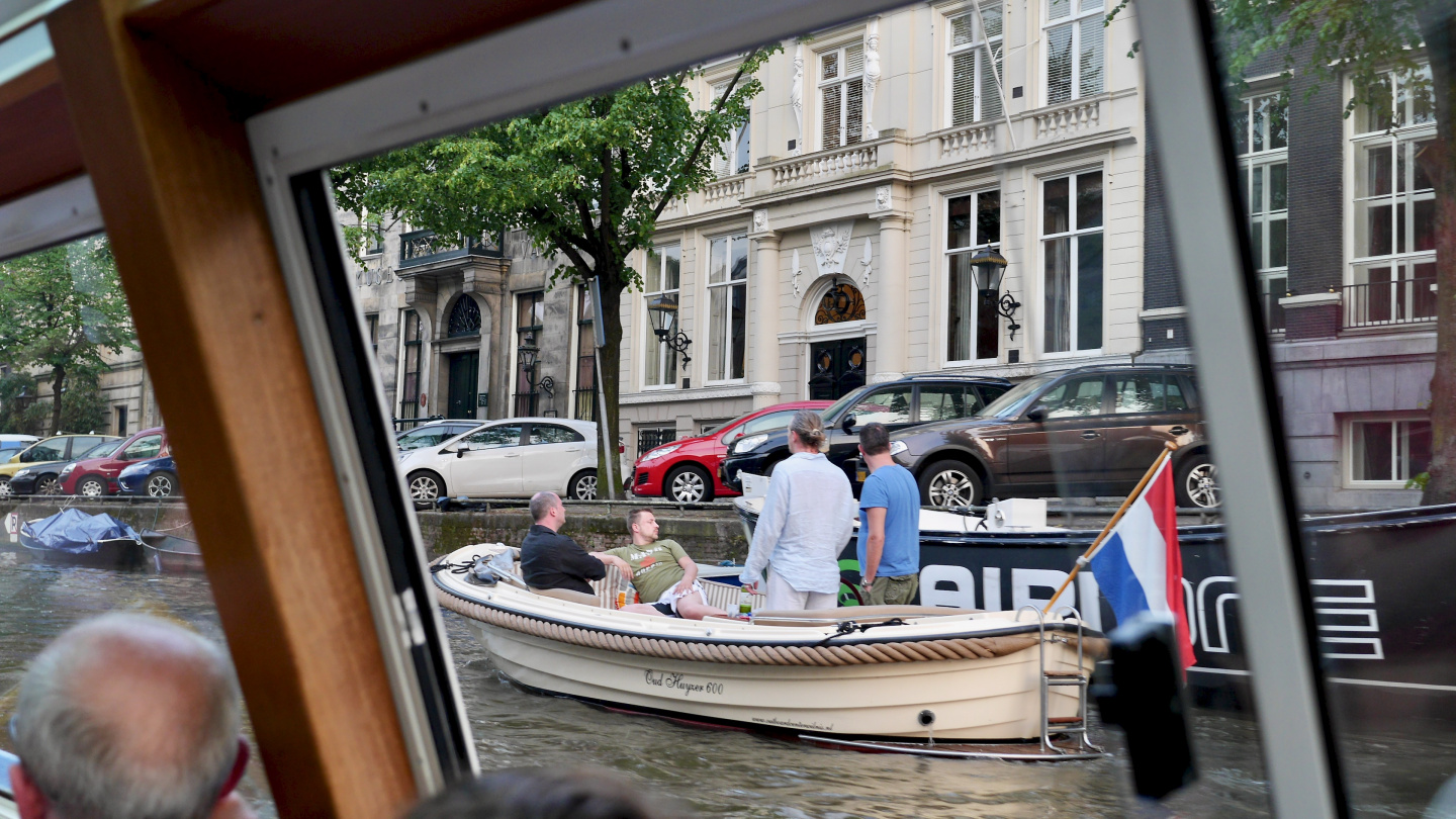 The partyboat on the canal of Amsterdam