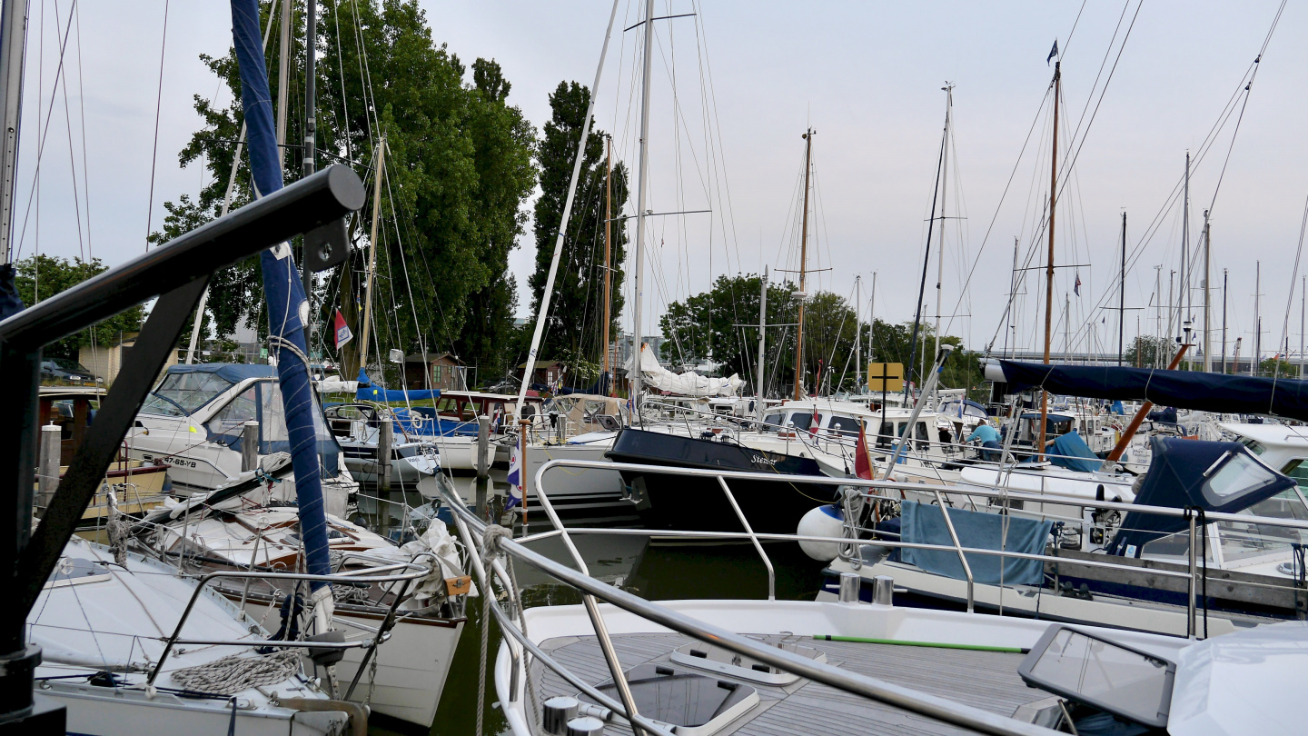 Sixhaven marina in Amsterdam is full of boats