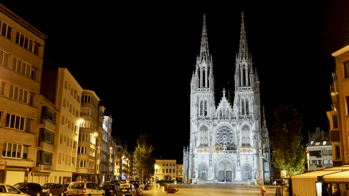 Church of St. Peter and St. Paul in the nighttime Oostende
