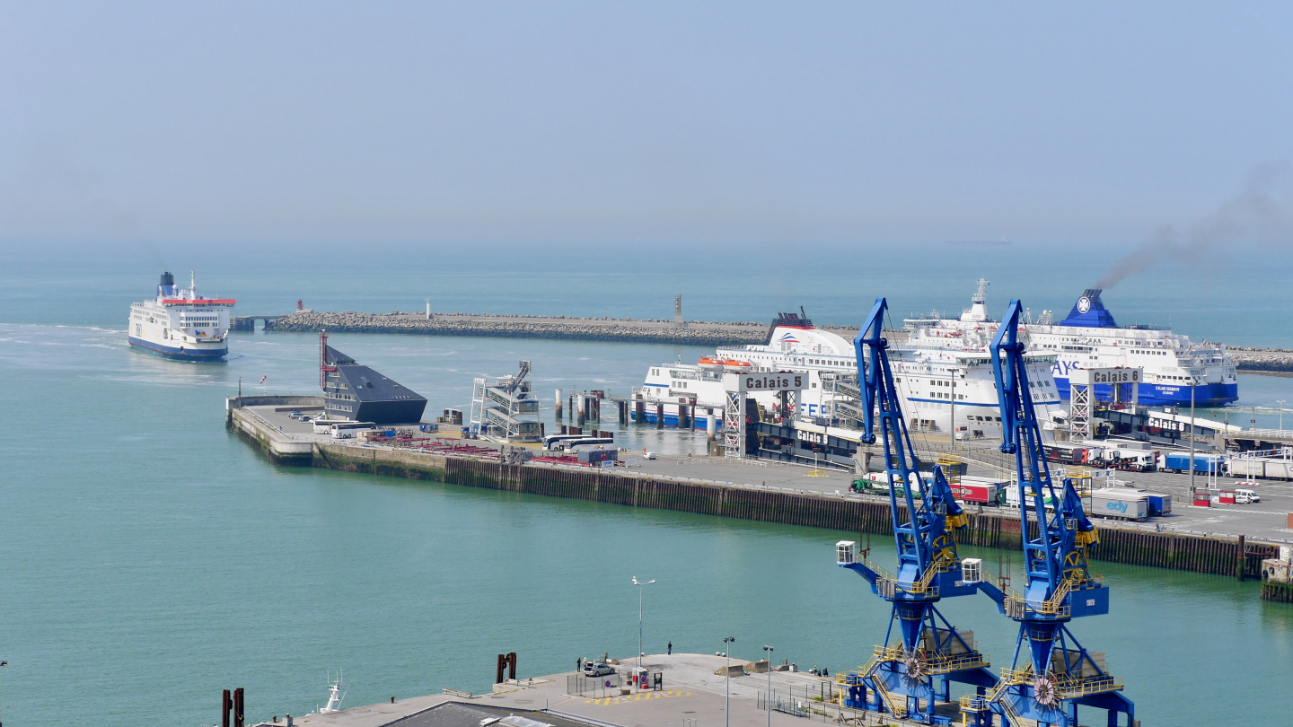 Dover ferries in the port of Calais
