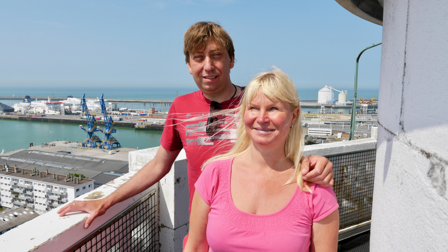Eve and Andrus in the lighthouse of Calais