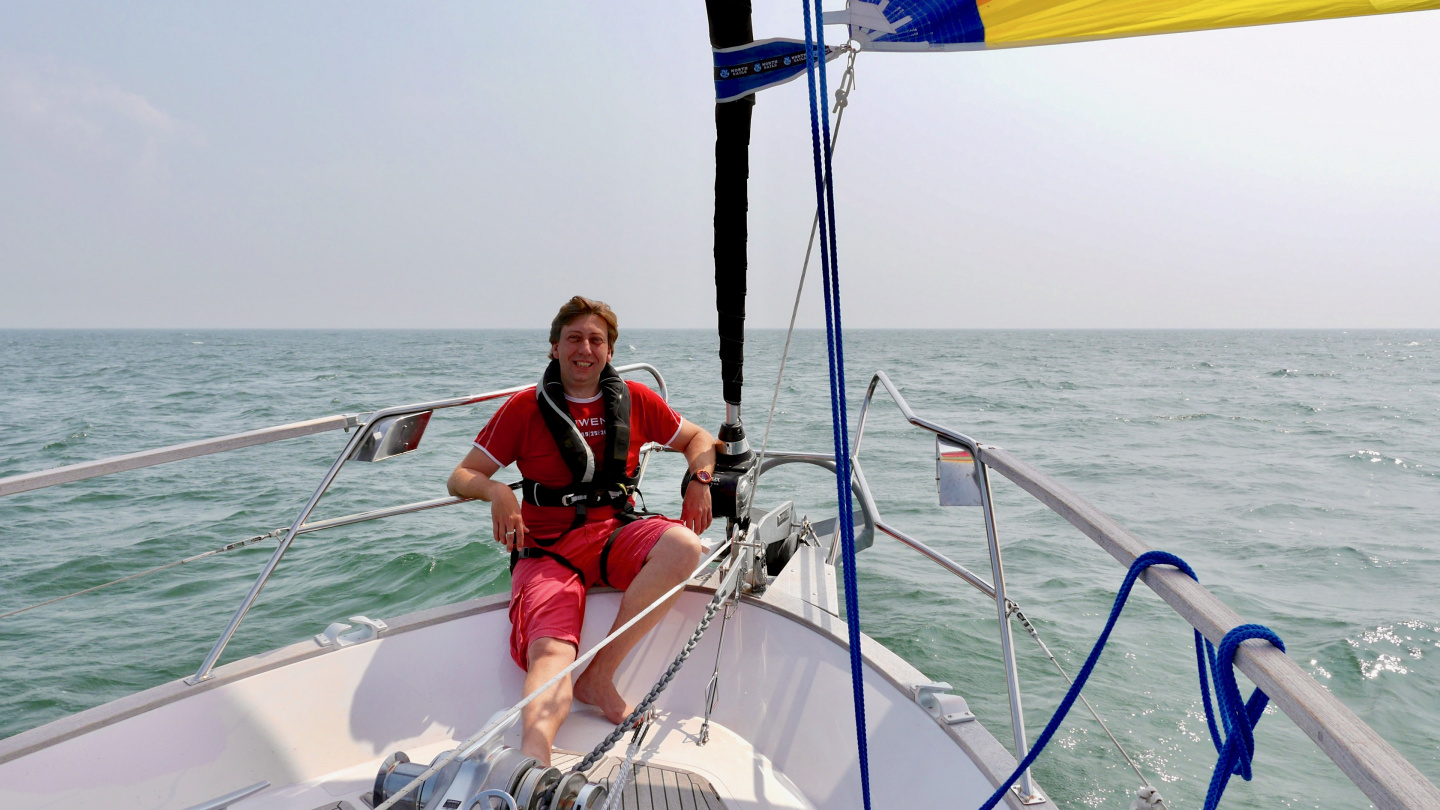Andrus enjoying the gennaker sailing on the coast of Normandy