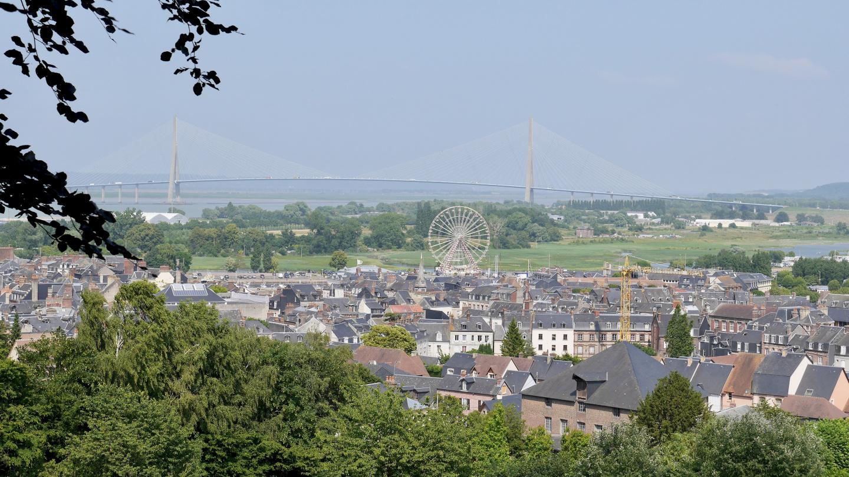 Honfleur and the bridge of Pont de Normandie
