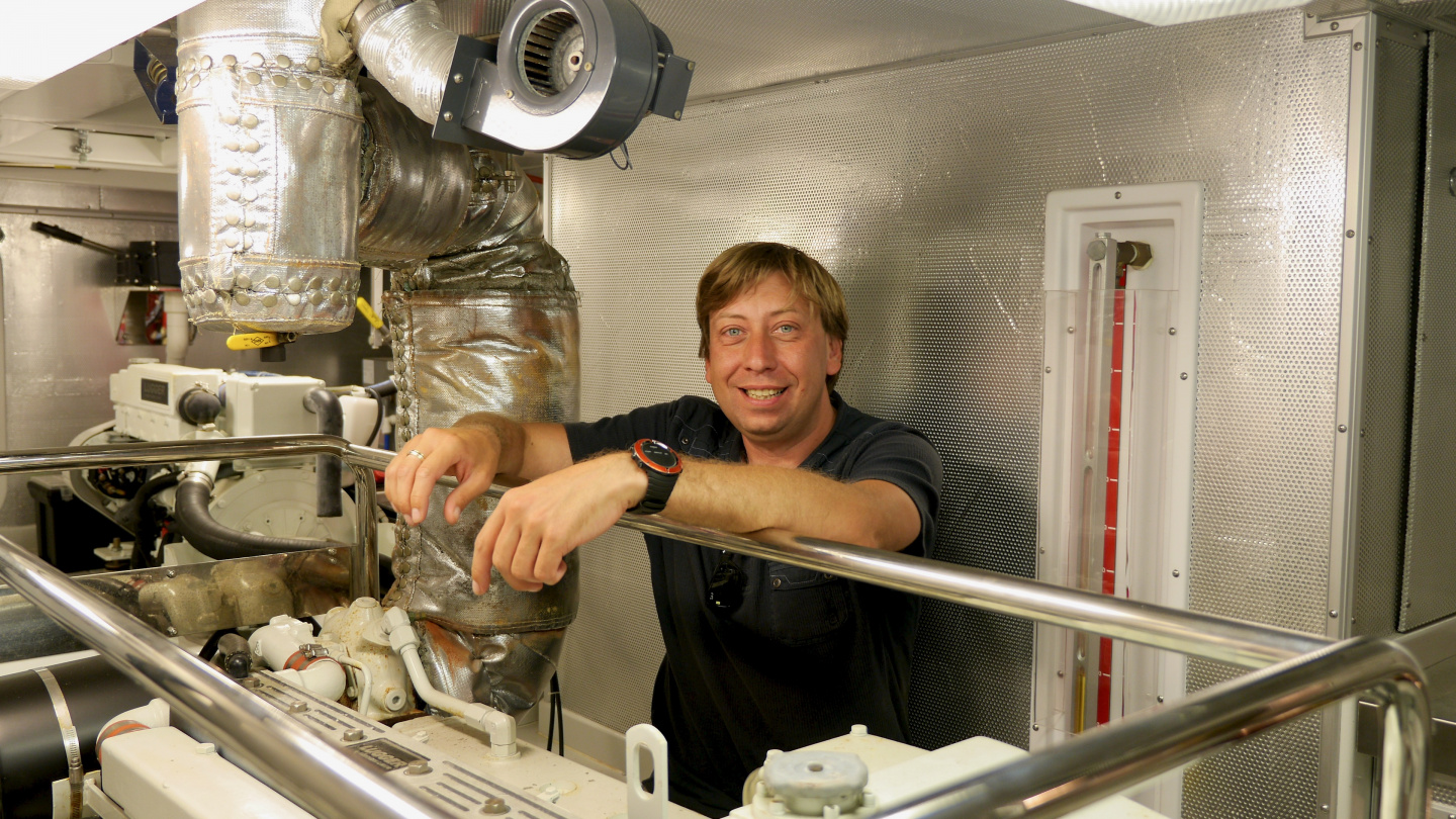 Happy Andrus in the engine room of Nordhavn 47
