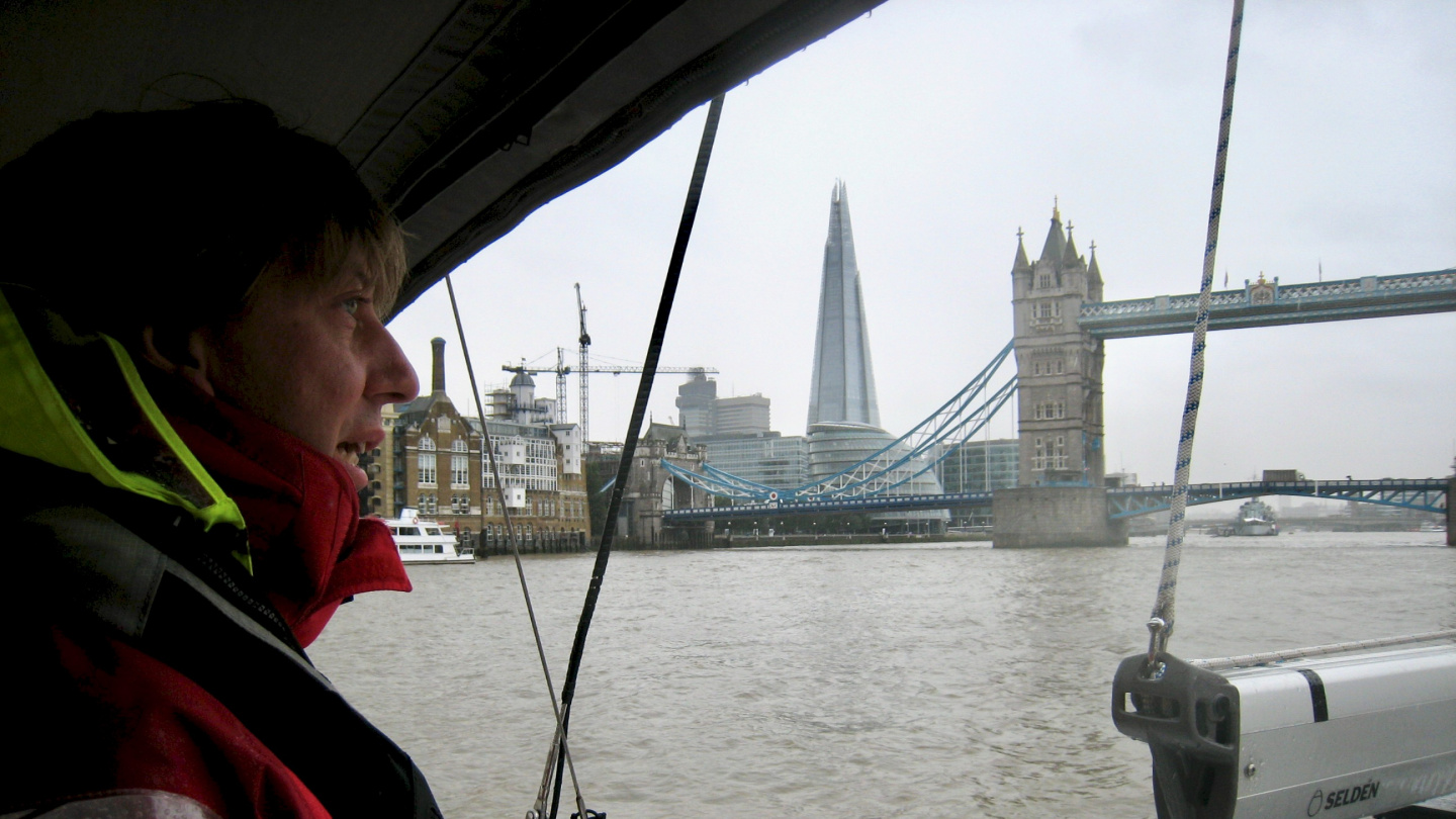 Andrus at the helm of Suwena on the river Thames