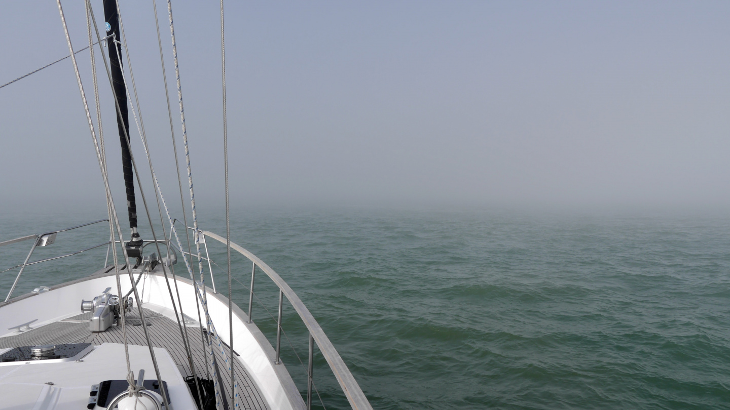 Suwena in the fog, approaching Ramsgate