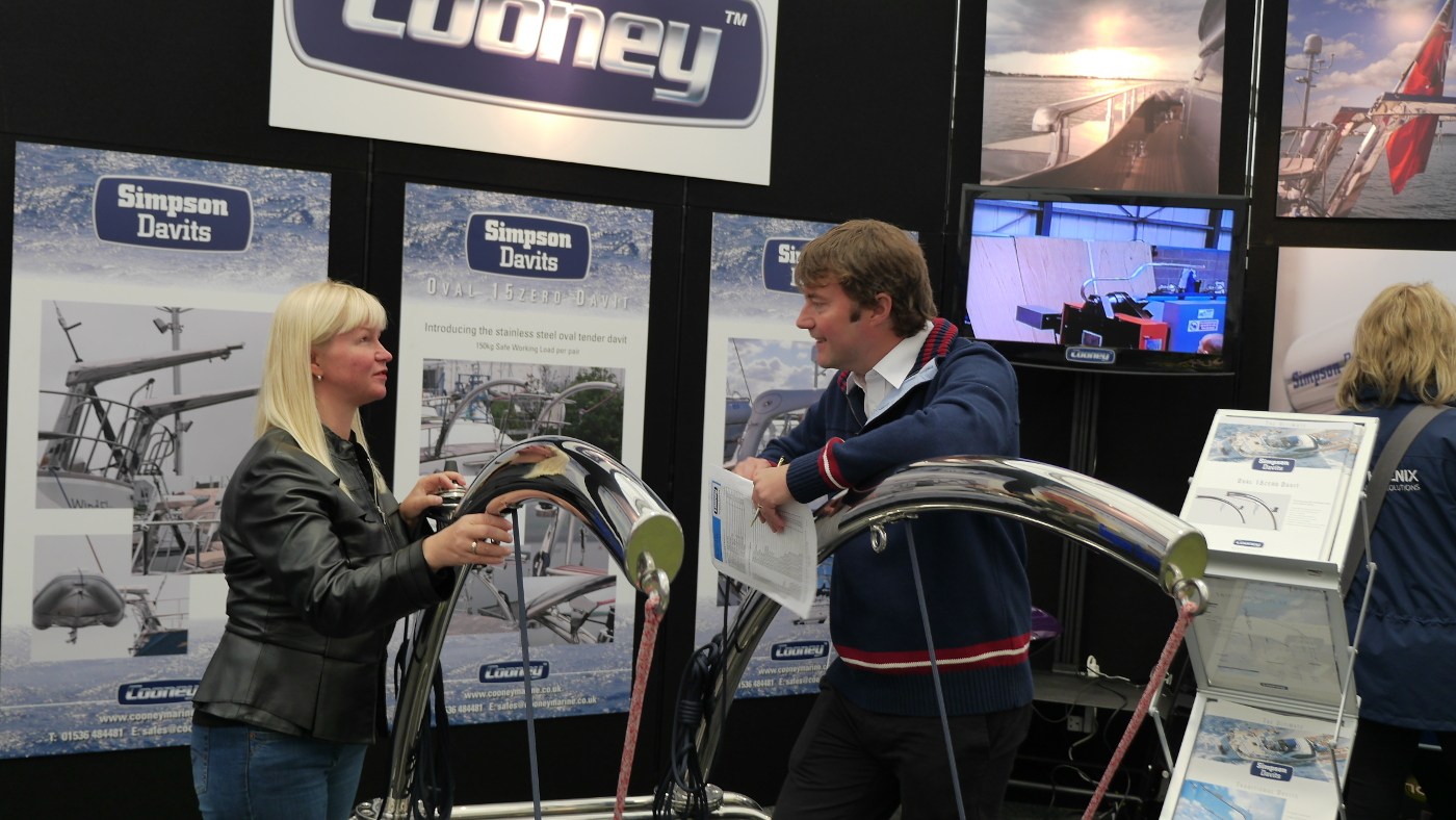 Eve and Mr Cooney at Simpson's stand in Southampton fair