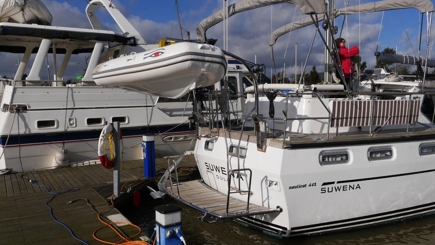 Brand new Ribeye dinghy in Suwena's davits