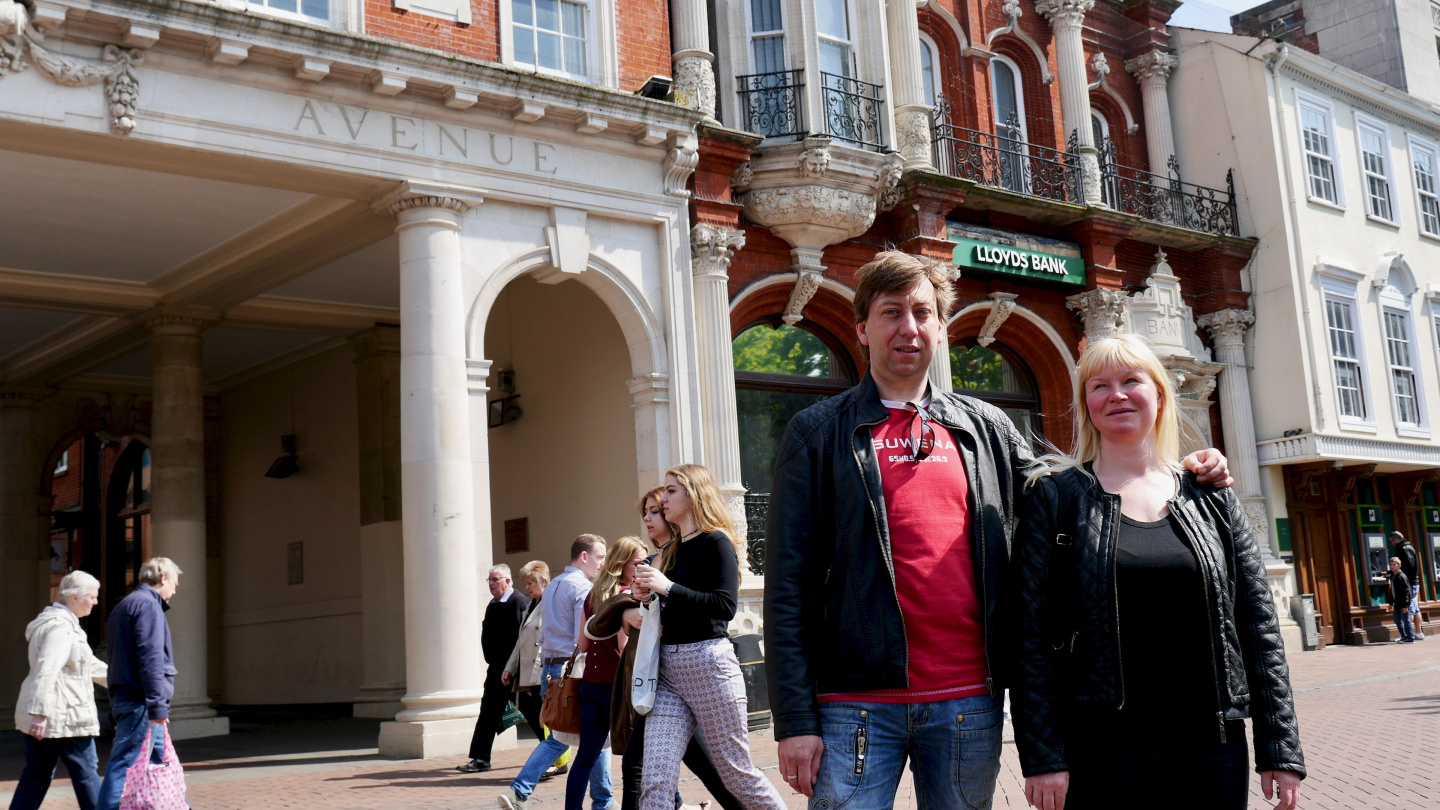 Andrus and Eve on the walking street of Ipswich