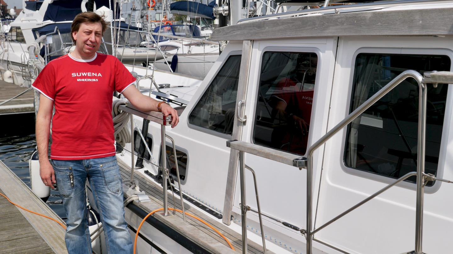 Happy Andrus after finishing boat maintenance in Ipswich