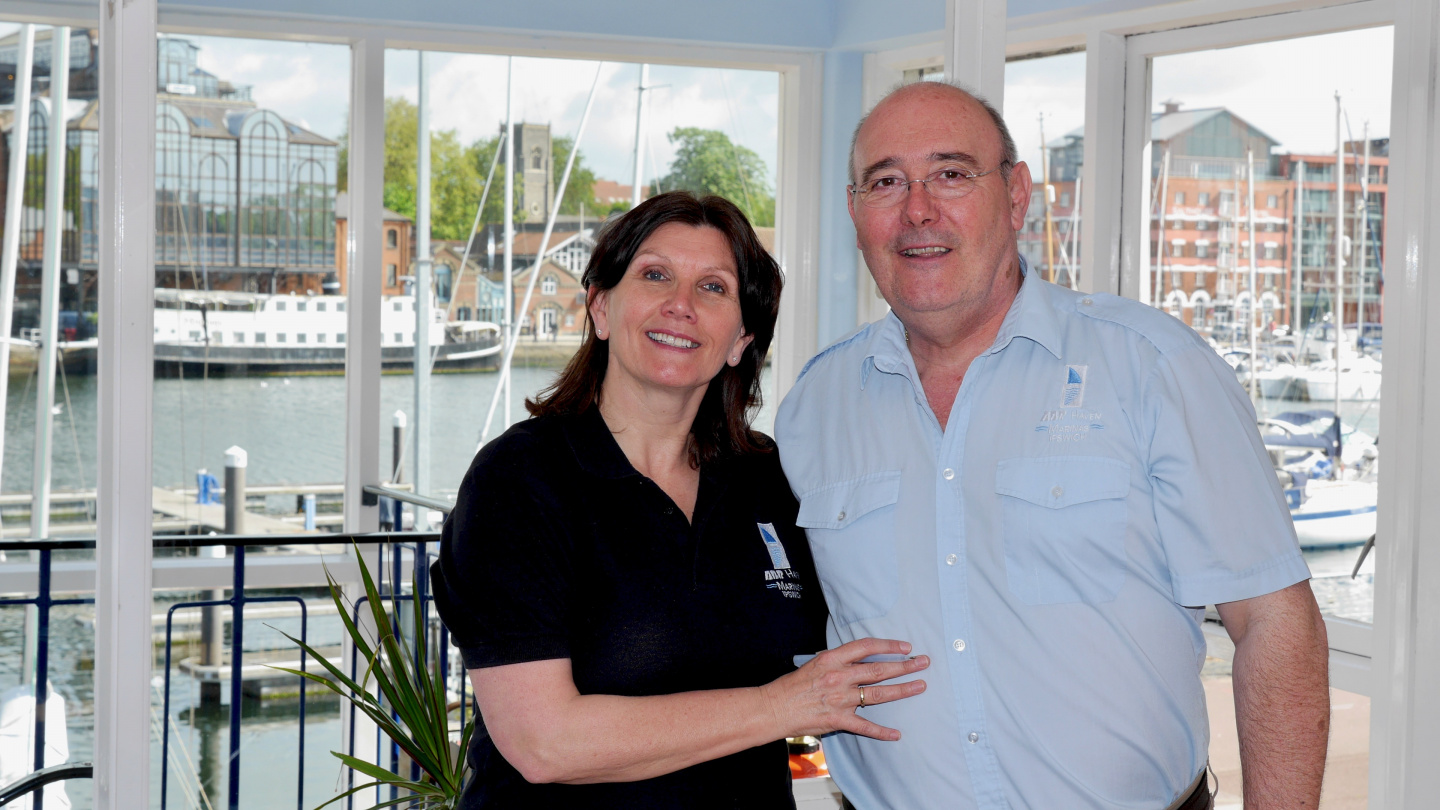 Marina Managers Linda and Phil of Ipswich Haven Marina