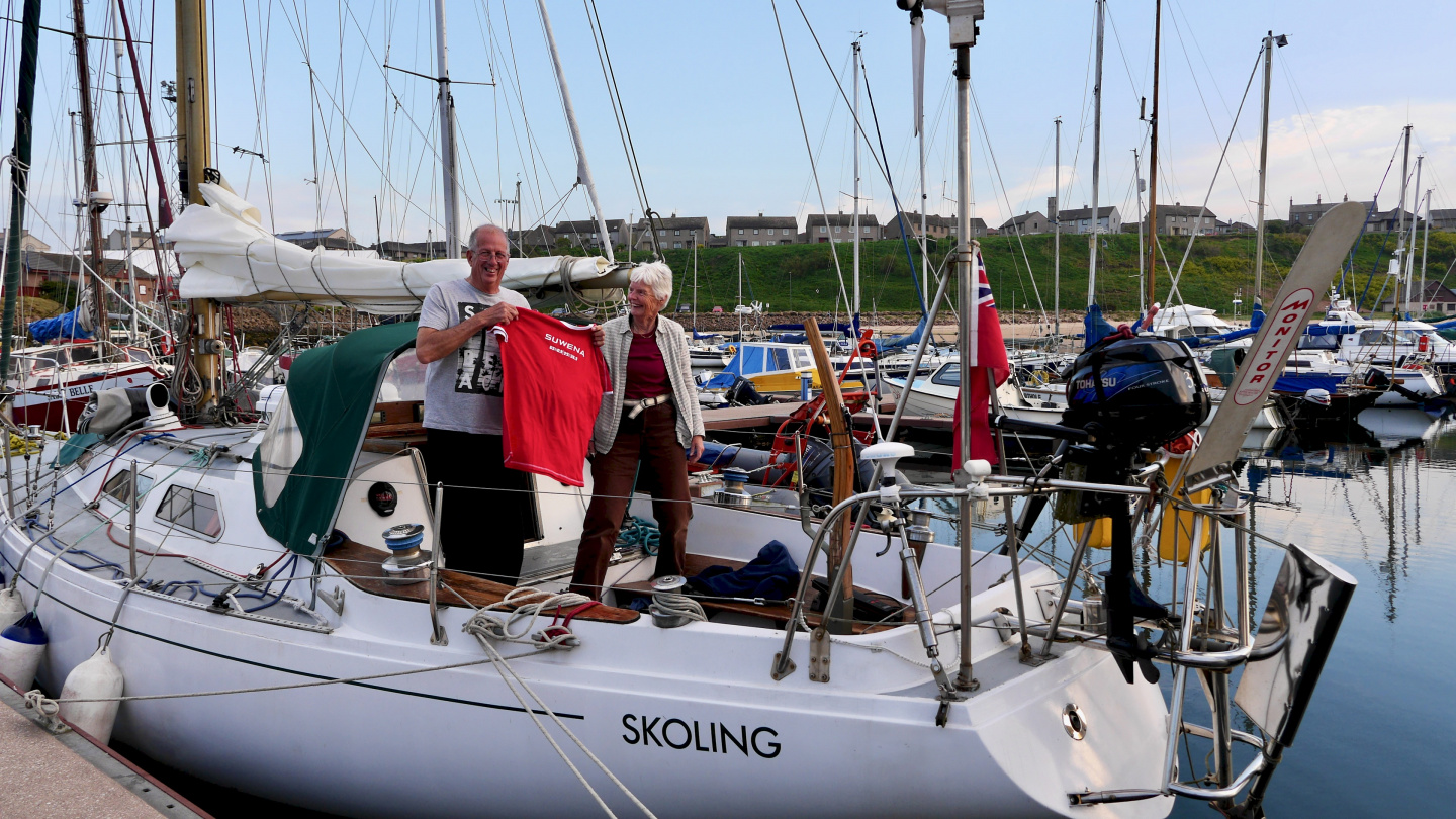 The crew of S/Y Skoling in Peterhead