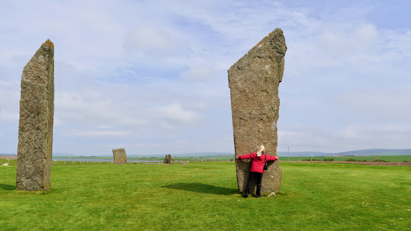 Eve exploring the Standing Stones of Stenness