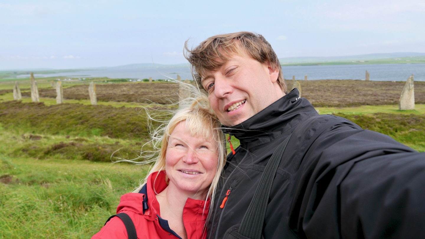 Eve and Andrus at the Ring of Brodgar on Orkney