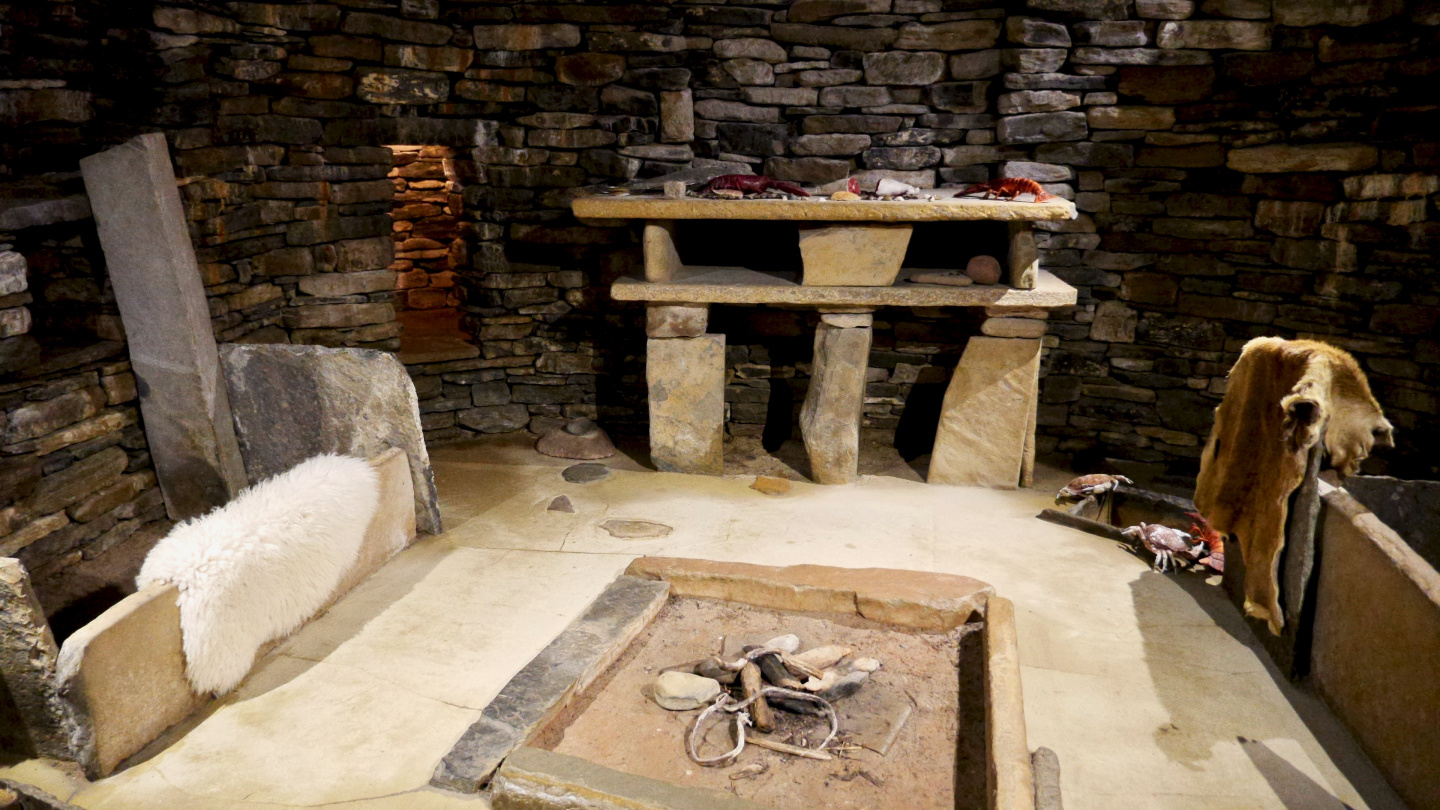 Replica house of Skara Brae on Mainland of Orkney