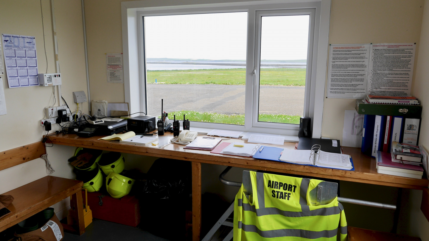 Air traffic control tower of Westray in Orkney