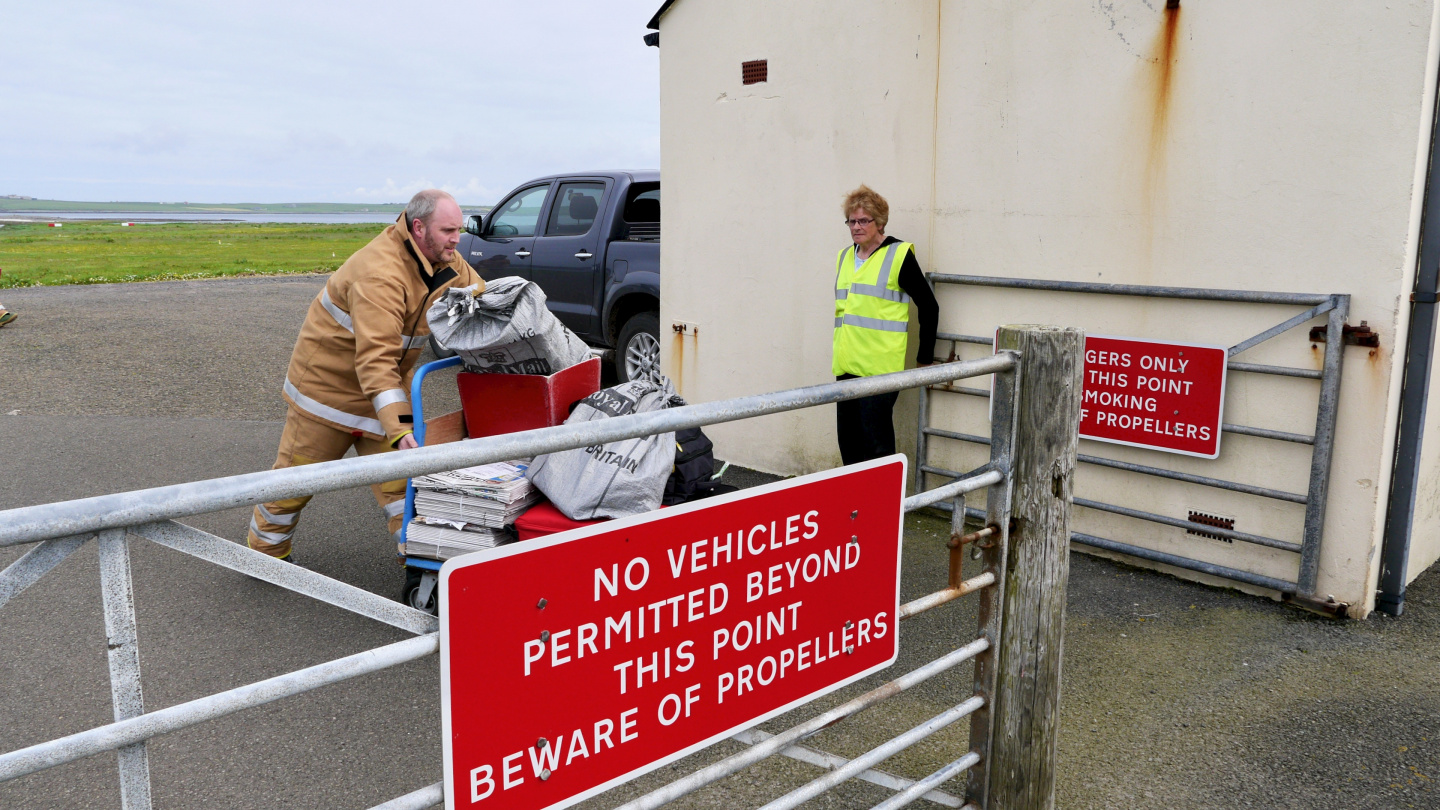 Luggage arriving to Westray island on Orkney
